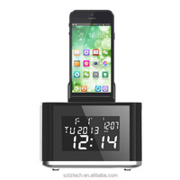 AJ-86 Music Bluetooth Speaker Portable Docking Station With Calendar Radio Alarm Clock TF Slot