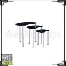 3pc cheap nesting glass chrome Modern design coffee table with stools