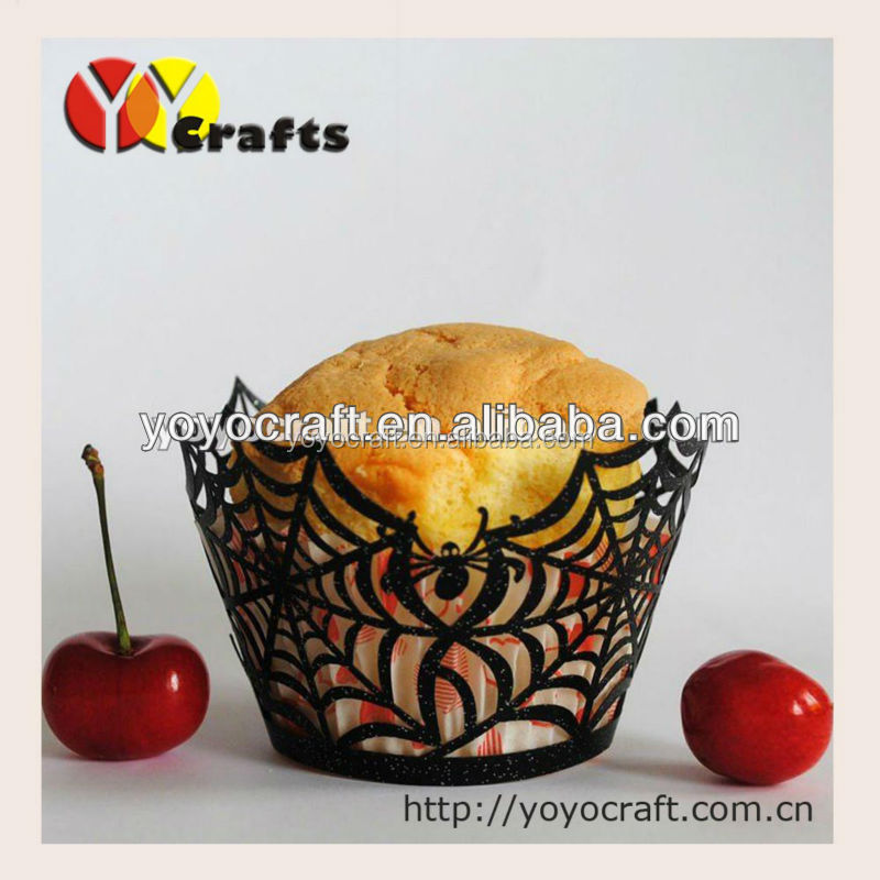 Laser cut cupcake wrappers for halloween decoration for wholesale and retail