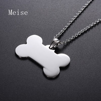 Yiwu Meise Mirror Polished Stainless Steel Bone Shaped Dog Tag Pendant with Chain