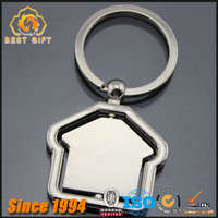 Newest Customized House Shaped Rotatable Keychain Metal Keychains