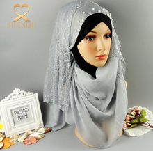 Latest muslim women multicolor pakistani lace hijab arab women scarves