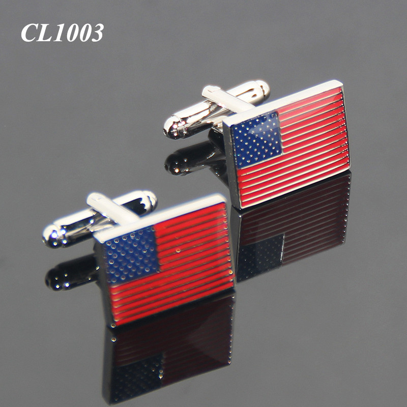 American USA Flag Men Sleeve Shirt Alloy Metal Cuff Links Patriotism Star-spangled Banner Souvenir Metal Custom Cufflinks