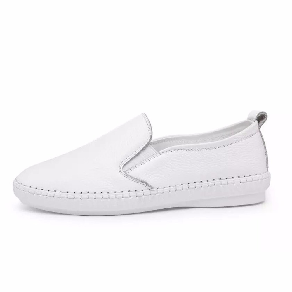 Rismart Women White Soft Genuine Leather Flats