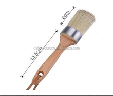 2-in-1 Round Chalk Paint and Wax Brush for Furniture, Natural Bristles