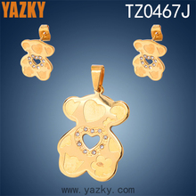316L stainless steel 24K gold animal with heart Design Jewelry Sets elephant animal shape kids jewelry set