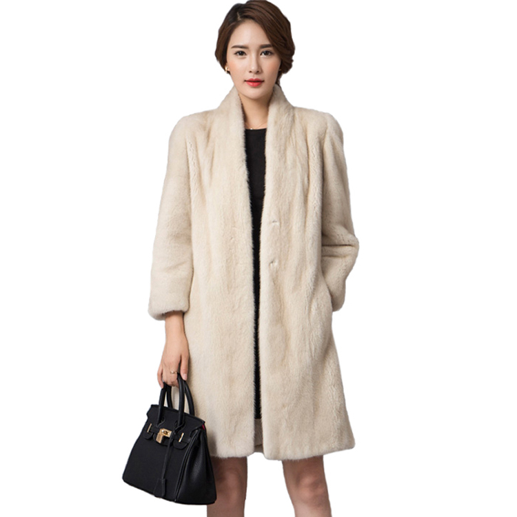 white long style whole hide pearl mink fur coat without collar