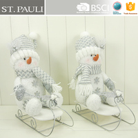 10.5inch promotion customize fabric Christmas sleighing snowman decoration