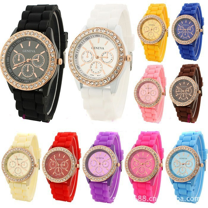 2015 Luxury Fashion Lady brand watch GENEVA rose gold Diamond Quartz Silicone Jelly watch for women gift