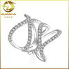 2016 new fashion double x link ring womens micro pave rings