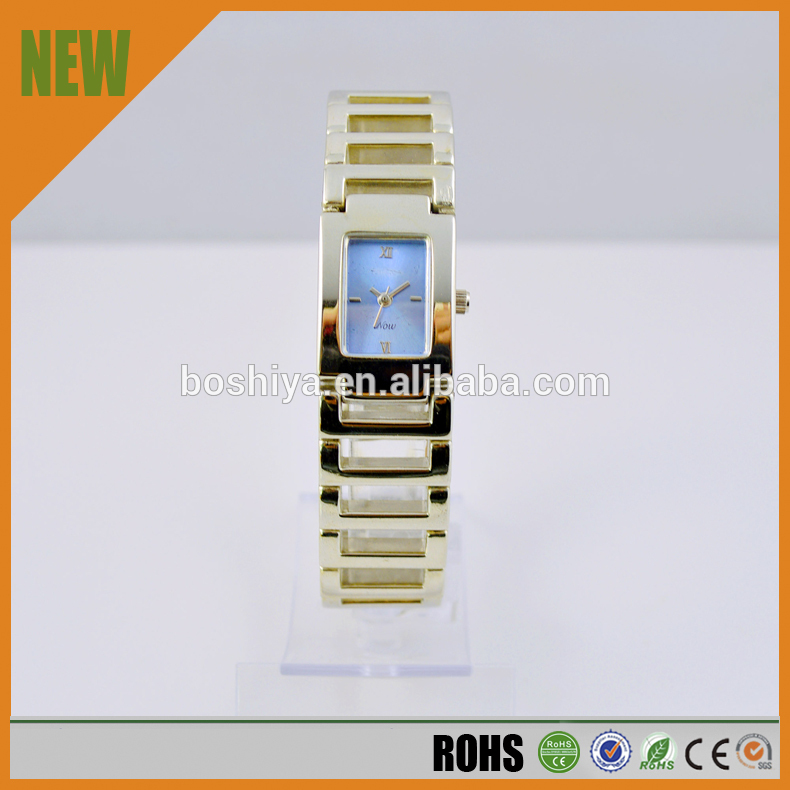 Stainless steel back japan movement rectangle case quartz quality women's watches
