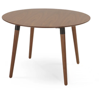 Dining Room Furniture Stores Walnut and Black Round Dining Table
