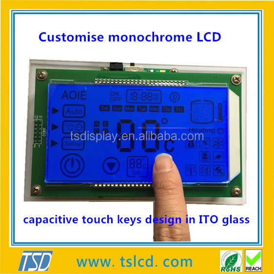 customized lcd panel in ITO glass with capacitive touch panel
