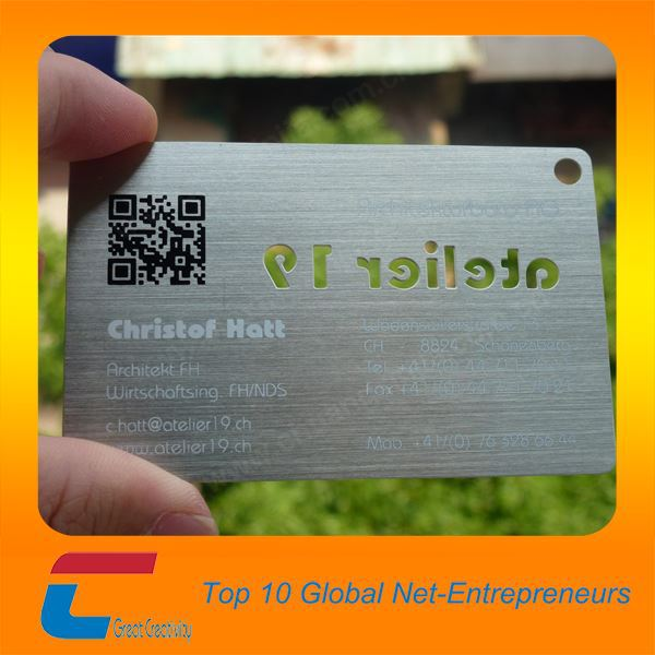 Cheap brushed metal business visit card customized free samples