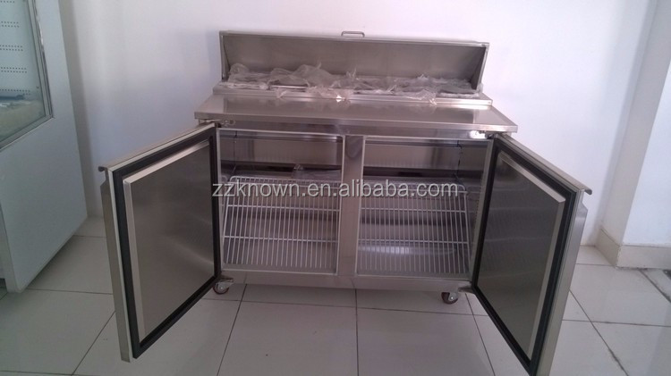 Practical 500L high capacity preparation refrigerator table with fan cooling system for sale
