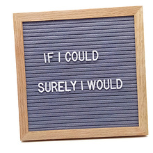 10 Inches Oak Wood Frame Letter Board With 360 White Letters Cotton bag and Wood Stand Letter Board