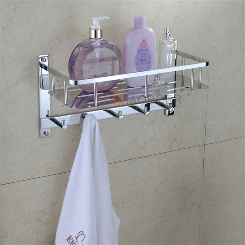 Bath fittings accessories chrome wall mounted stainless steel bathroom corner shelf with hooks