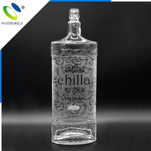 Quality-assured transparent 1000ml flat glass bottle vodka