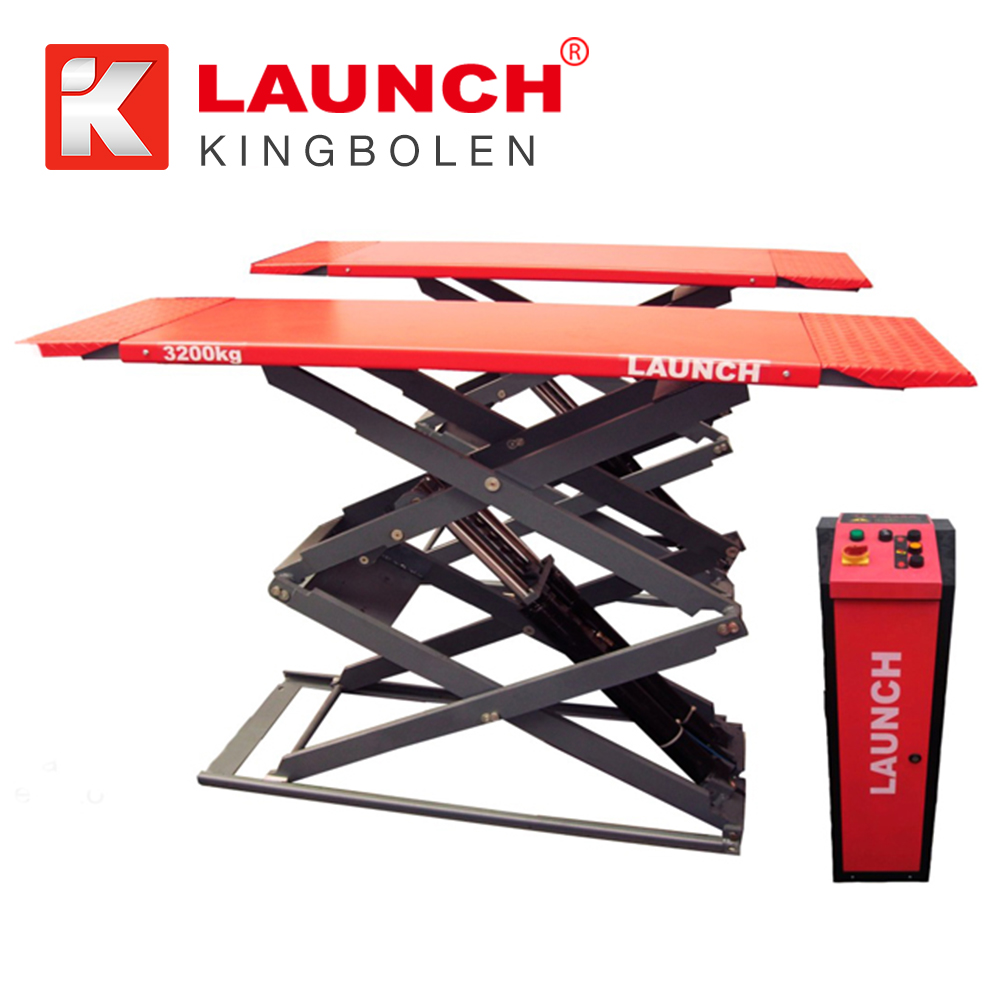 Launch TLT632AF four hydraulic cylinders scissor car lift under 3.2 tons for vehicle test, service and cleaning