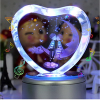 Colorful Romantic Gifts 3D Heart Shaped Crystal Musical Boxes Heart Moon Music base