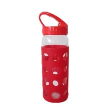 Borosilicate heat resistant glass water bottle with silicone sleeve