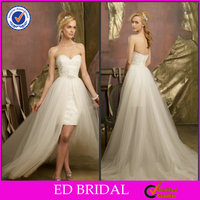 2014 Lovely Ball Gown Sweetheart Two Piece Sexy Short Wedding Dresses Removable Skirt