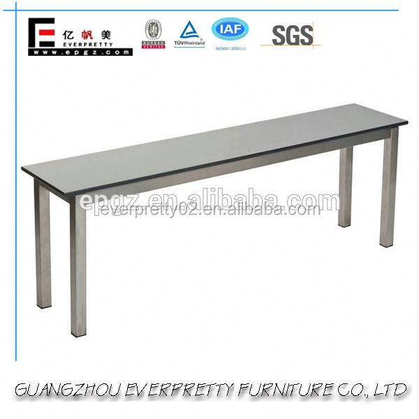 Modern Gym Hall Changing Room Sit up Wooden Bench with Metal Leg
