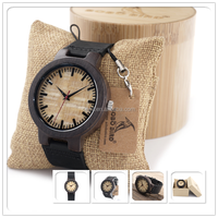 Natural sandal wood watch hot sale genuine cowhide leather band design your own logo with low MOQ