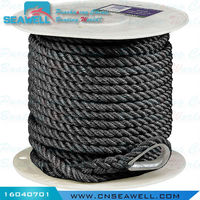 Polyester Three Strands Double Twisted Anchor Rope 16mm*30m Black