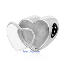 sterling silver heart charms Personlized charms fit women diy bracelets New Design sterling silver heart photo charm beads