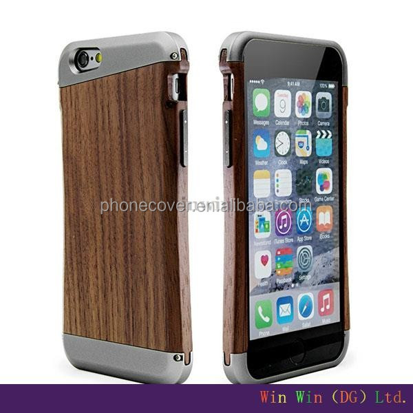 2016 special design hard metal and wood mobile phone case for iphone 5,for iphone6