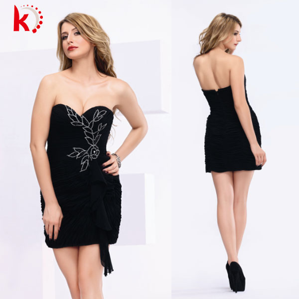 sexy chiffon ruffle beaded black cocktail evening formal dresses evening dress with backless