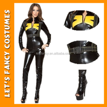 PGWC2027 Hot Selling Black Sexy Womens Jumpsuit Leather And Latex Catsuit