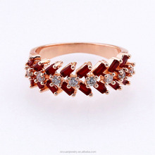 Full Eternity Band Ring Round Red Simulated Ruby Rose Tone over Plated 925 Sterling <strong>Silver</strong>