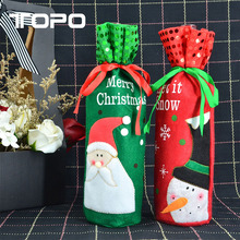 Set Snowman Sweater Santa Claus Wine Bottle Cover Bags Christmas hat Table Decoration for Party
