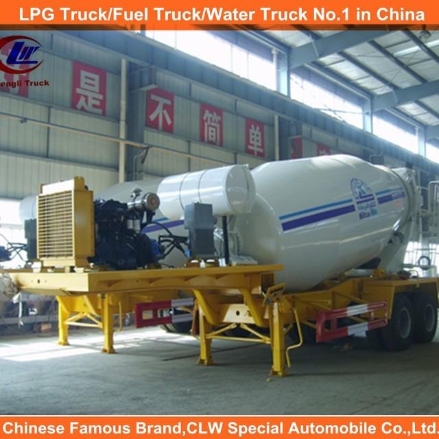 Concrete mixer truck trailer Fuwa/BPW axles double axles 12cbm concrete mixer pump trailer