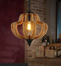 The Nordic idea cafe bars bedroom hemp rope LED chandelier lamp
