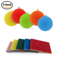 10pcs Package Kitchen Washing Sponges 5 Pack Silicone Dish Scrubber and Scouring Pads Sets