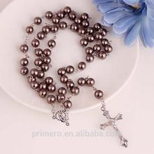 High Quality 8mm Glass pearl Acrylic beads Rosary Bracelet Catholic Gifts Praying Cross Pendant Women's Rosary crosses