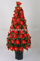 Fiber Optic tree With Red Flower Ornament Christmas Decoration