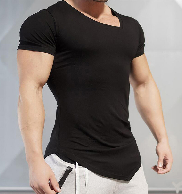 Wholesale Men's Funny Plain Muscle Bodybuilding Clothing Irregular Fitness Workout Training Black V-neck Short Sleeve Gym Tshirt