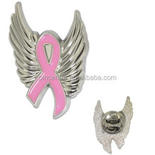 2015 Custom Angel Wings Pink Ribbon Pin Badge for Breast Cancer souvenir