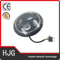 "7"" Round LED Headlight 75W Hi/Lo Beam H4 Motorcycle Headlamp for Harley"