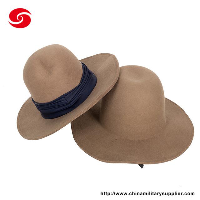 OEM design factory supply plain color 100% wool felt hat