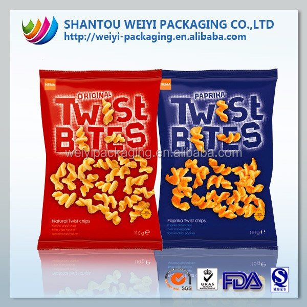 Safety Food Grade food plastic pouch bag for apple chips packaging
