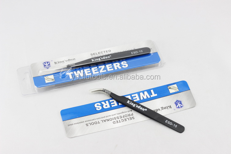 Best High Temperature Resistance ESD Tweezer Anti static Curved Stainless Steel Tweezers