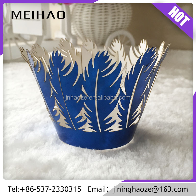 metal paper party birthday wedding decoration feather cupcake wrapper