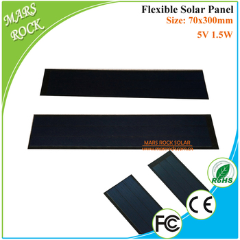 70x300mm 1.5W 5V 300mA flexible solar panel for DIY potable solar power system