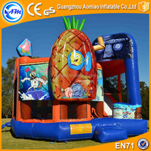 Cartoon air bouncer inflatable trampoline bouncer combo kids jumping castle