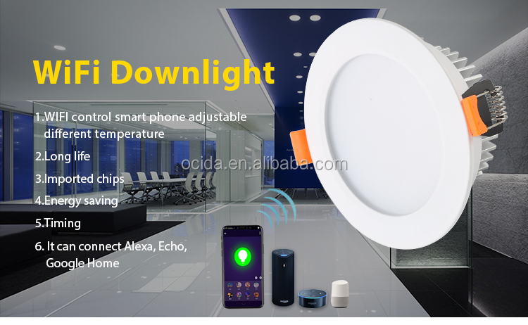 New Design Smd  7W 9W 12W Led Recessed Round Led Downlight Wifi Controlled LED Downlight